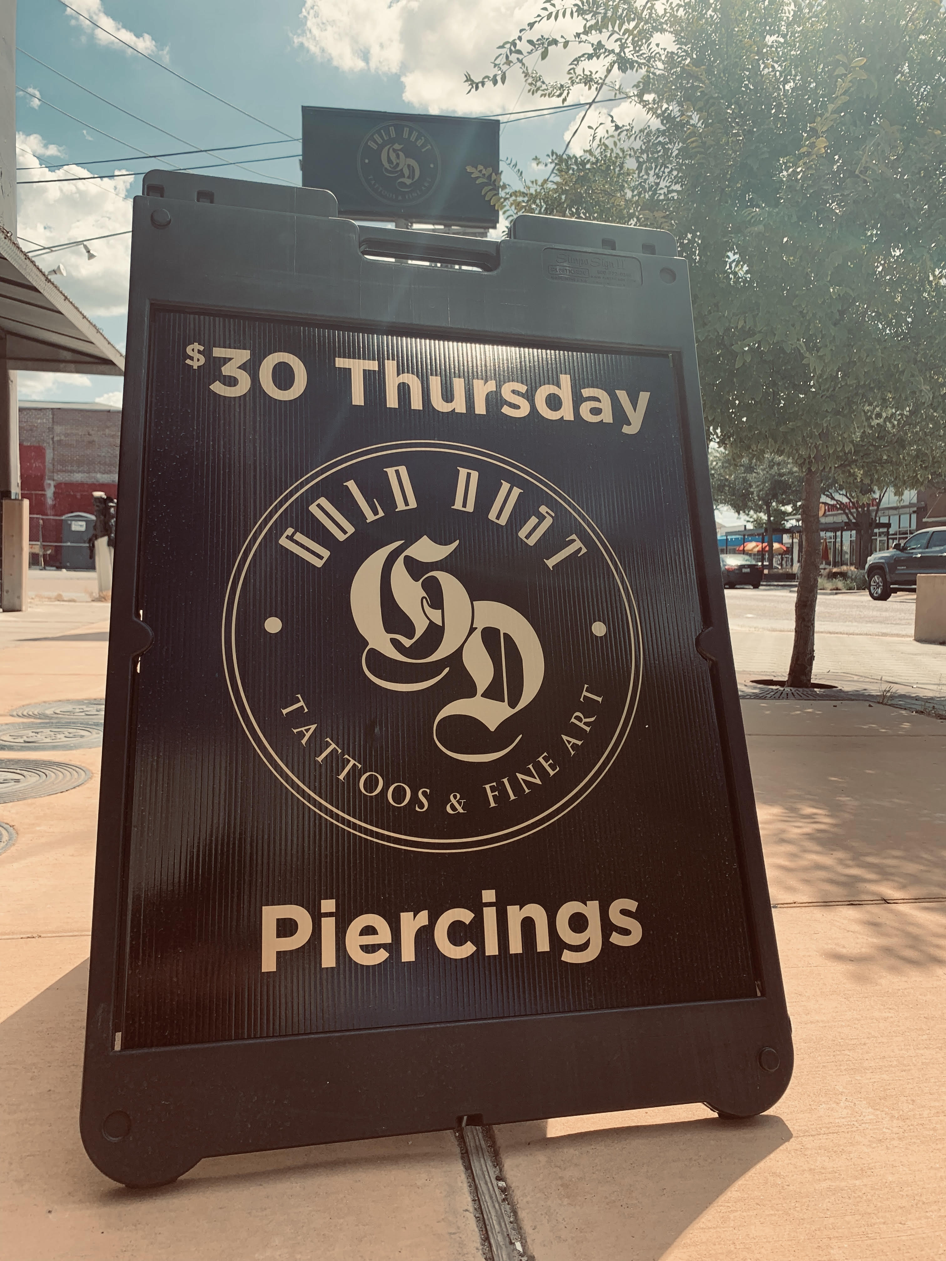 piercing special, gold dust, discount, piercing dallas